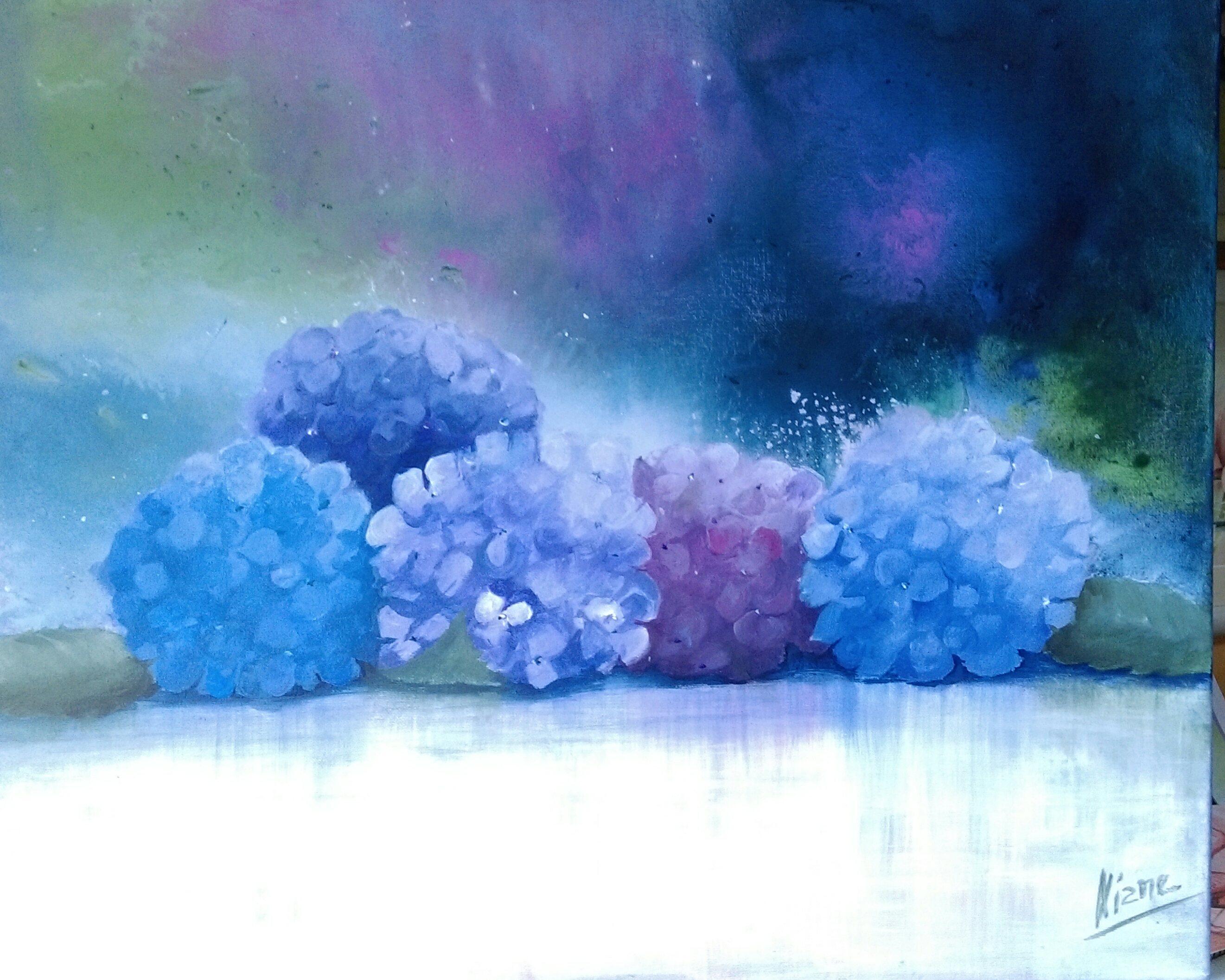Hortensias Acrylique 60x50